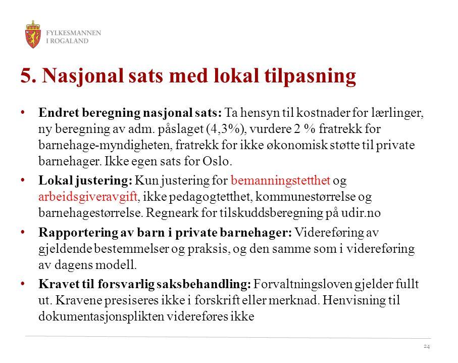 24 5. Nasjonal sats med lokal tilpasning Endret beregning nasjonal sats: Ta hensyn til kostnader for lærlinger, ny beregning av adm. påslaget (4,3%),