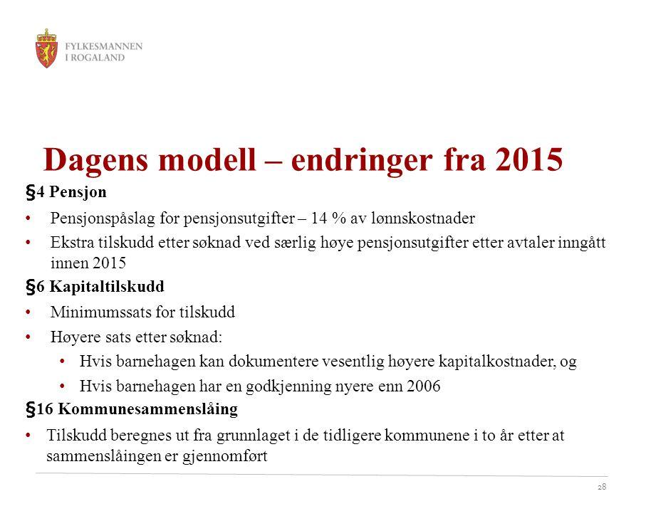 28 Dagens modell – endringer fra 2015 §4 Pensjon Pensjonspåslag for pensjonsutgifter – 14 % av lønnskostnader Ekstra tilskudd etter søknad ved særlig