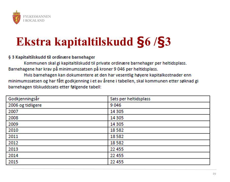 29 Ekstra kapitaltilskudd §6 /§3