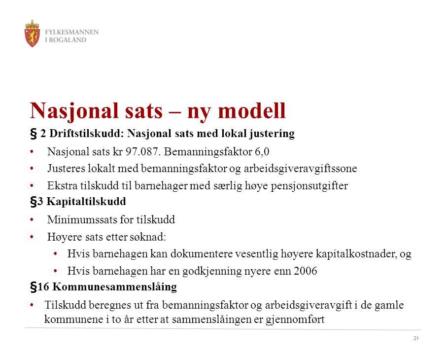 31 Nasjonal sats – ny modell § 2 Driftstilskudd: Nasjonal sats med lokal justering Nasjonal sats kr 97.087.