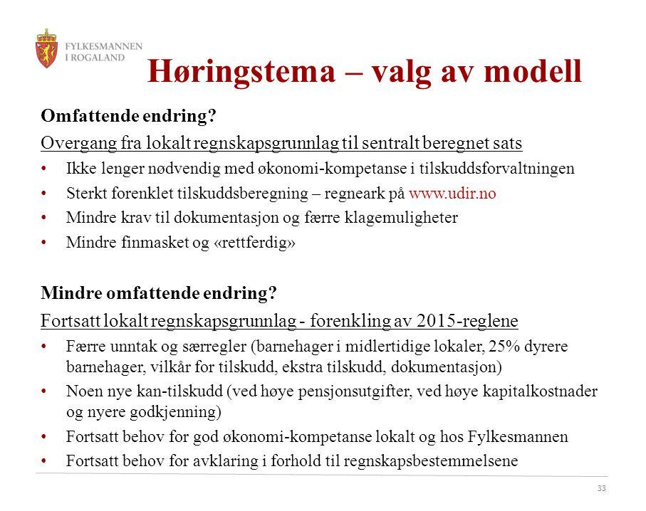 33 Høringstema – valg av modell Omfattende endring.