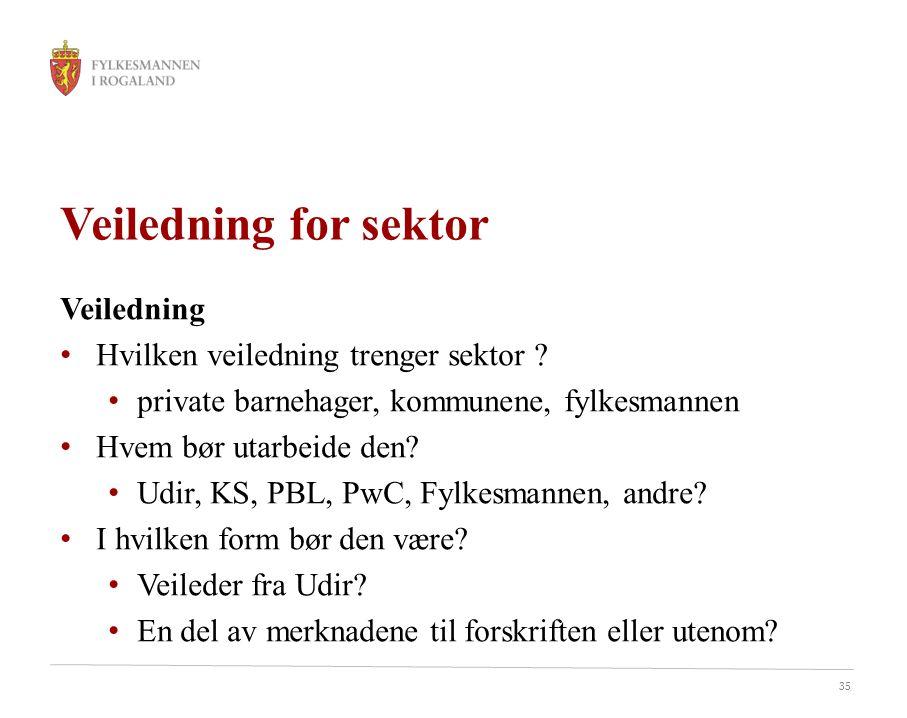 35 Veiledning for sektor Veiledning Hvilken veiledning trenger sektor .