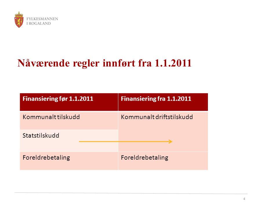 4 Nåværende regler innført fra 1.1.2011 Finansiering før 1.1.2011Finansiering fra 1.1.2011 Kommunalt tilskuddKommunalt driftstilskudd Statstilskudd Foreldrebetaling