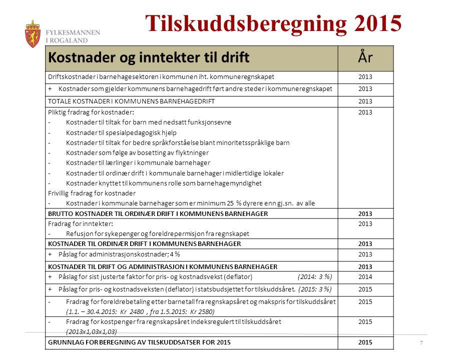 7 Tilskuddsberegning 2015 Kostnader og inntekter til driftÅr Driftskostnader i barnehagesektoren i kommunen iht. kommuneregnskapet2013 + Kostnader som