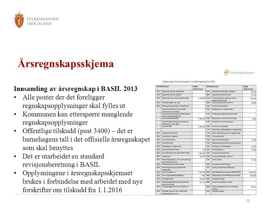 23 Årsregnskapsskjema Innsamling av årsregnskap i BASIL 2013 Alle poster der det foreligger regnskapsopplysninger skal fylles ut Kommunen kan etterspø