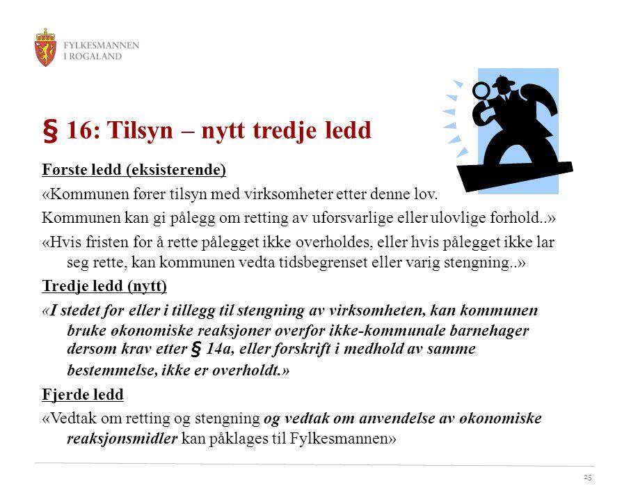 25 § 16: Tilsyn – nytt tredje ledd Første ledd (eksisterende) «Kommunen fører tilsyn med virksomheter etter denne lov.