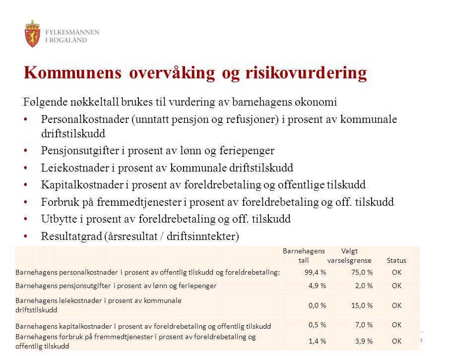 34 Kommunens overvåking og risikovurdering Følgende nøkkeltall brukes til vurdering av barnehagens økonomi Personalkostnader (unntatt pensjon og refus