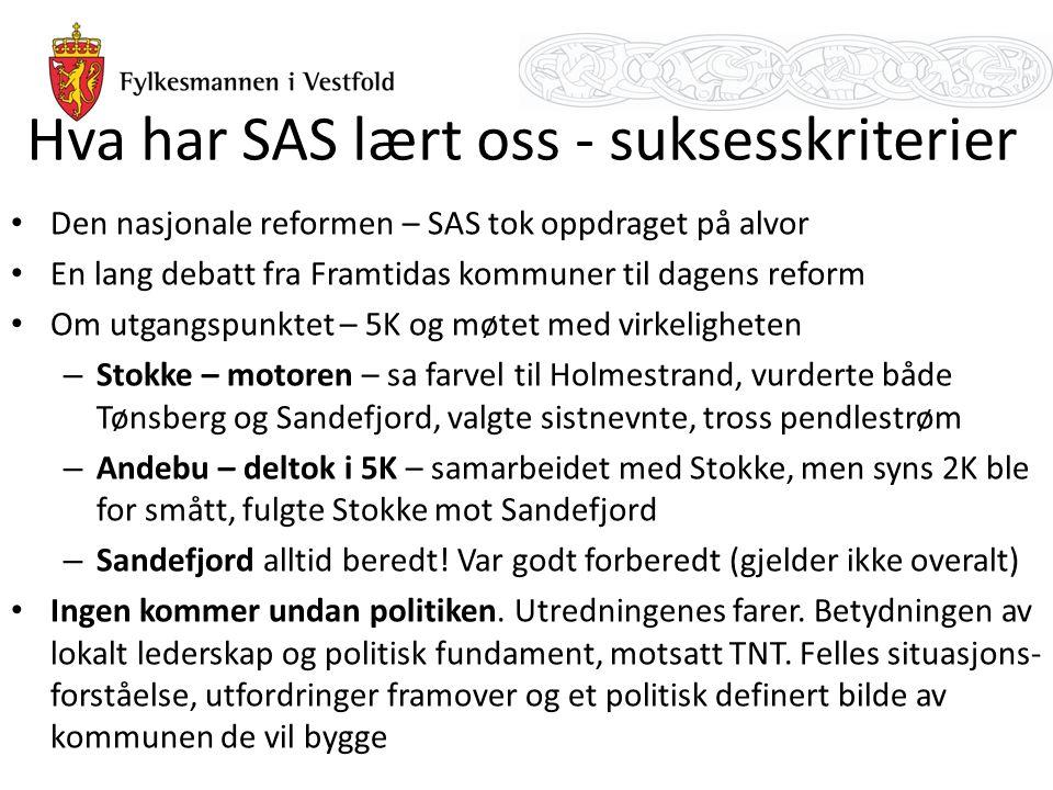 Hva har SAS lært oss - suksesskriterier Den nasjonale reformen – SAS tok oppdraget på alvor En lang debatt fra Framtidas kommuner til dagens reform Om