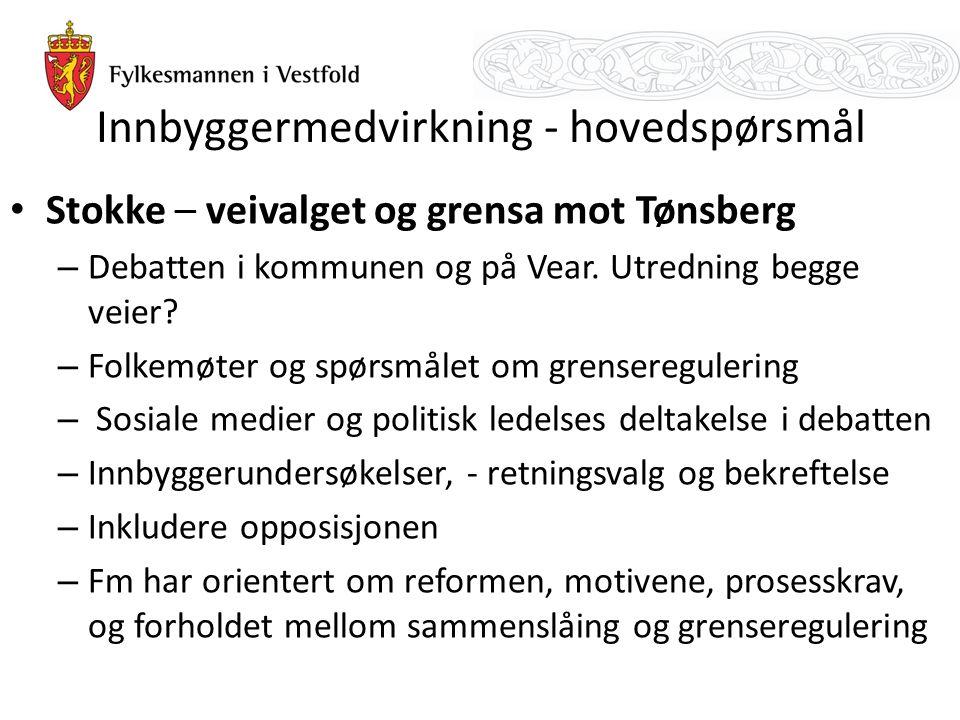 Innbyggermedvirkning - hovedspørsmål Stokke – veivalget og grensa mot Tønsberg – Debatten i kommunen og på Vear. Utredning begge veier? – Folkemøter o