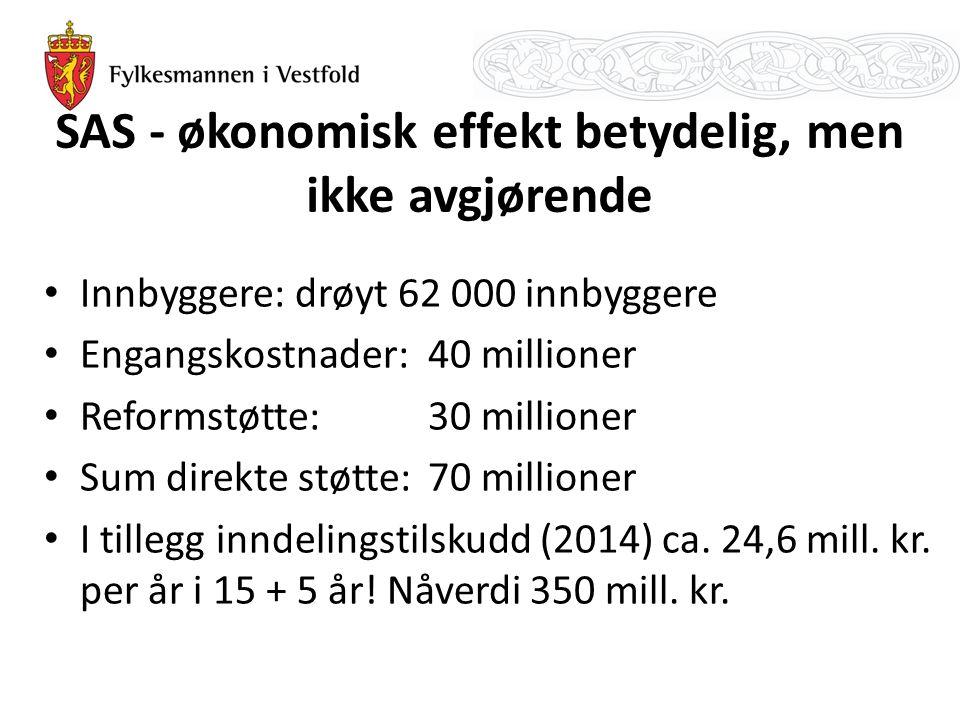 SAS - økonomisk effekt betydelig, men ikke avgjørende Innbyggere: drøyt 62 000 innbyggere Engangskostnader: 40 millioner Reformstøtte: 30 millioner Su