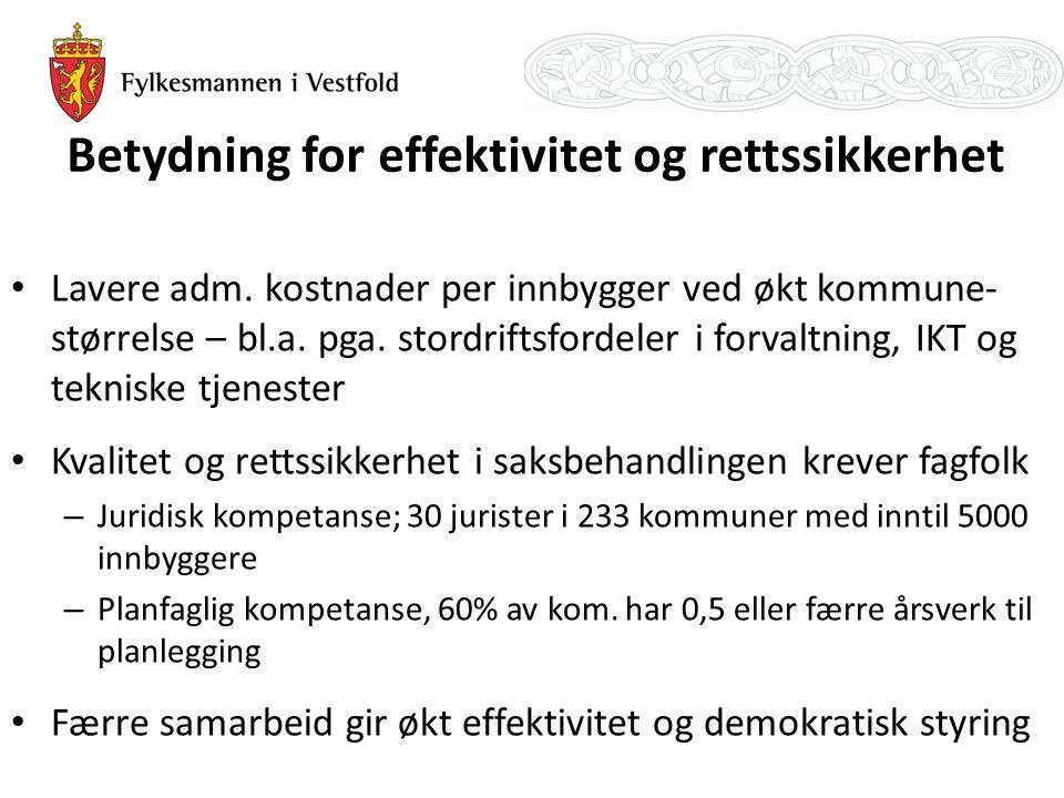 Betydning for effektivitet og rettssikkerhet Lavere adm. kostnader per innbygger ved økt kommune- størrelse – bl.a. pga. stordriftsfordeler i forvaltn