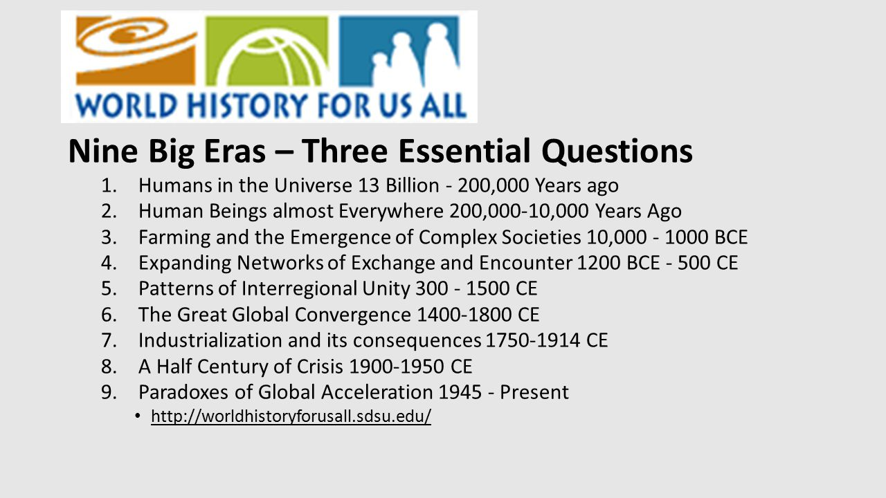 Nine Big Eras – Three Essential Questions 1.Humans in the Universe 13 Billion - 200,000 Years ago 2.Human Beings almost Everywhere 200,000-10,000 Year