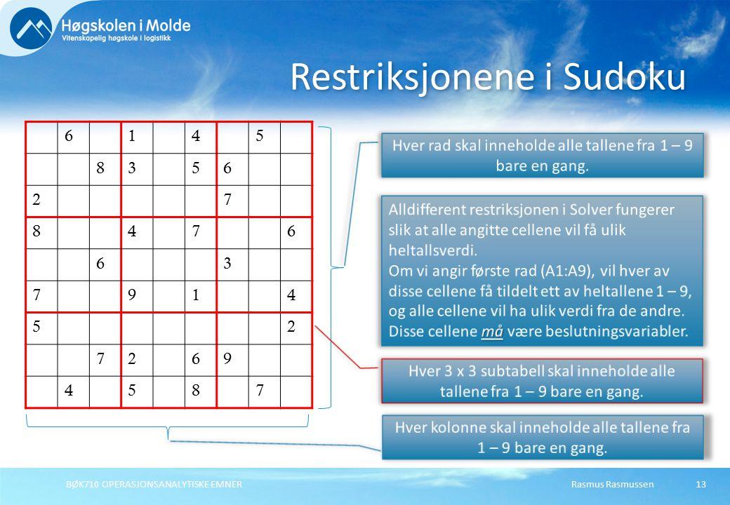 Rasmus RasmussenBØK710 OPERASJONSANALYTISKE EMNER13 6145 8356 27 8476 63 7914 52 7269 4587 Restriksjonene i Sudoku