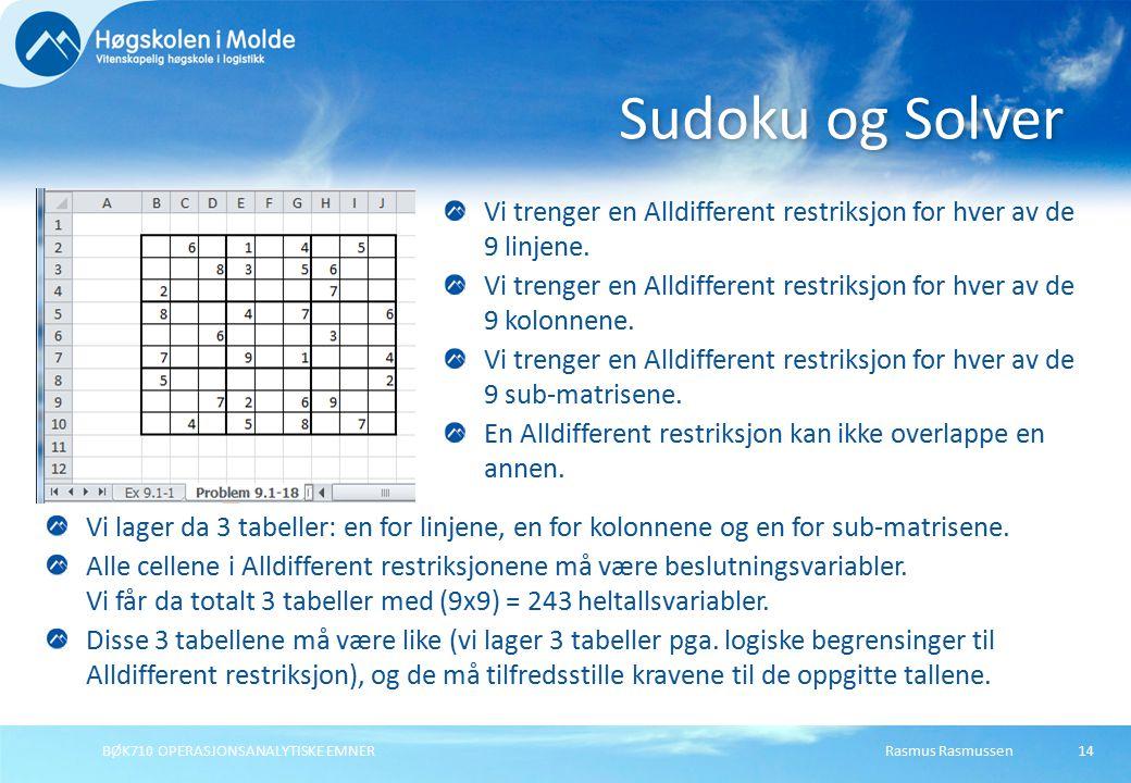 Rasmus RasmussenBØK710 OPERASJONSANALYTISKE EMNER14 Vi trenger en Alldifferent restriksjon for hver av de 9 linjene. Vi trenger en Alldifferent restri