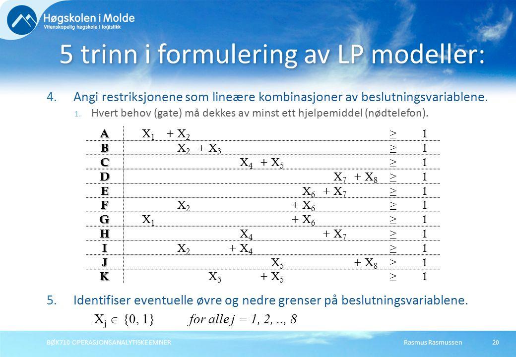 Rasmus RasmussenBØK710 OPERASJONSANALYTISKE EMNER20 4.Angi restriksjonene som lineære kombinasjoner av beslutningsvariablene. 1. Hvert behov (gate) må