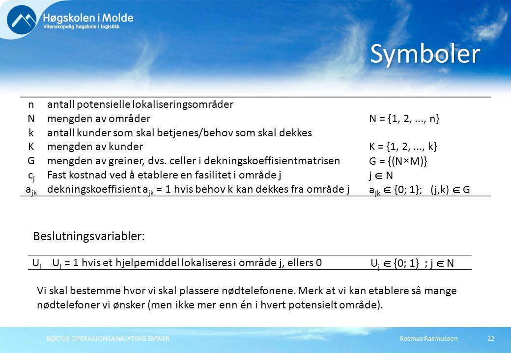 BØK710 OPERASJONSANALYTISKE EMNER22 Symboler Beslutningsvariabler: Vi skal bestemme hvor vi skal plassere nødtelefonene. Merk at vi kan etablere så ma