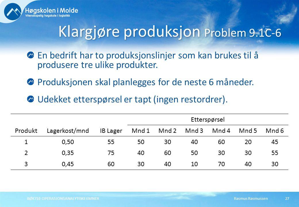 Rasmus RasmussenBØK710 OPERASJONSANALYTISKE EMNER27 En bedrift har to produksjonslinjer som kan brukes til å produsere tre ulike produkter. Produksjon