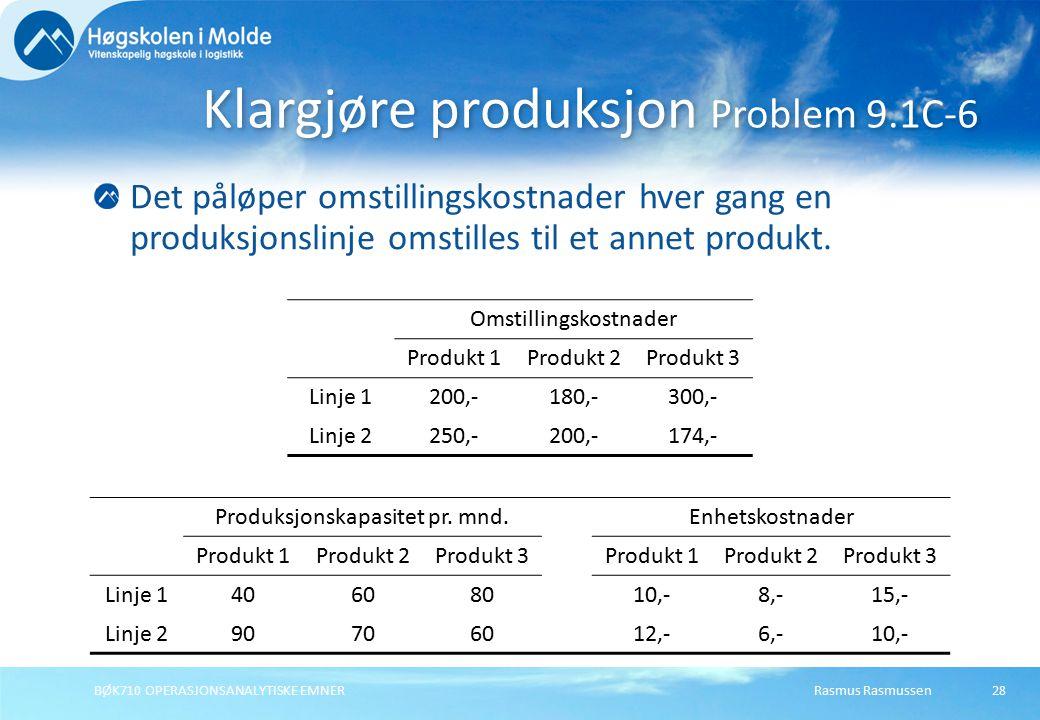 Rasmus RasmussenBØK710 OPERASJONSANALYTISKE EMNER28 Det påløper omstillingskostnader hver gang en produksjonslinje omstilles til et annet produkt.
