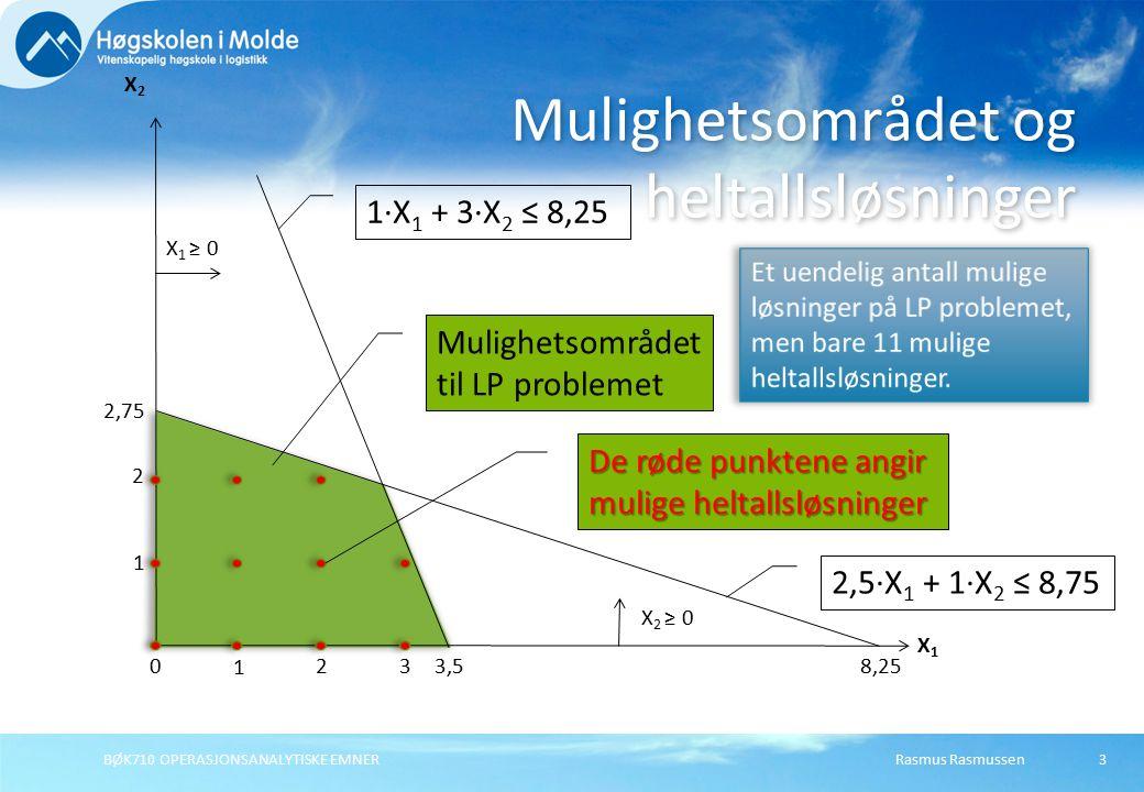 Rasmus Rasmussen3 Mulighetsområdet og heltallsløsninger X1X1 X2X2 2,75 3,5 2,5·X 1 + 1·X 2 ≤ 8,75 1·X 1 + 3·X 2 ≤ 8,25 X 1 ≥ 0 X 2 ≥ 0 BØK710 OPERASJONSANALYTISKE EMNER 8,25 2 1 3 2 1 0 Mulighetsområdet til LP problemet De røde punktene angir mulige heltallsløsninger