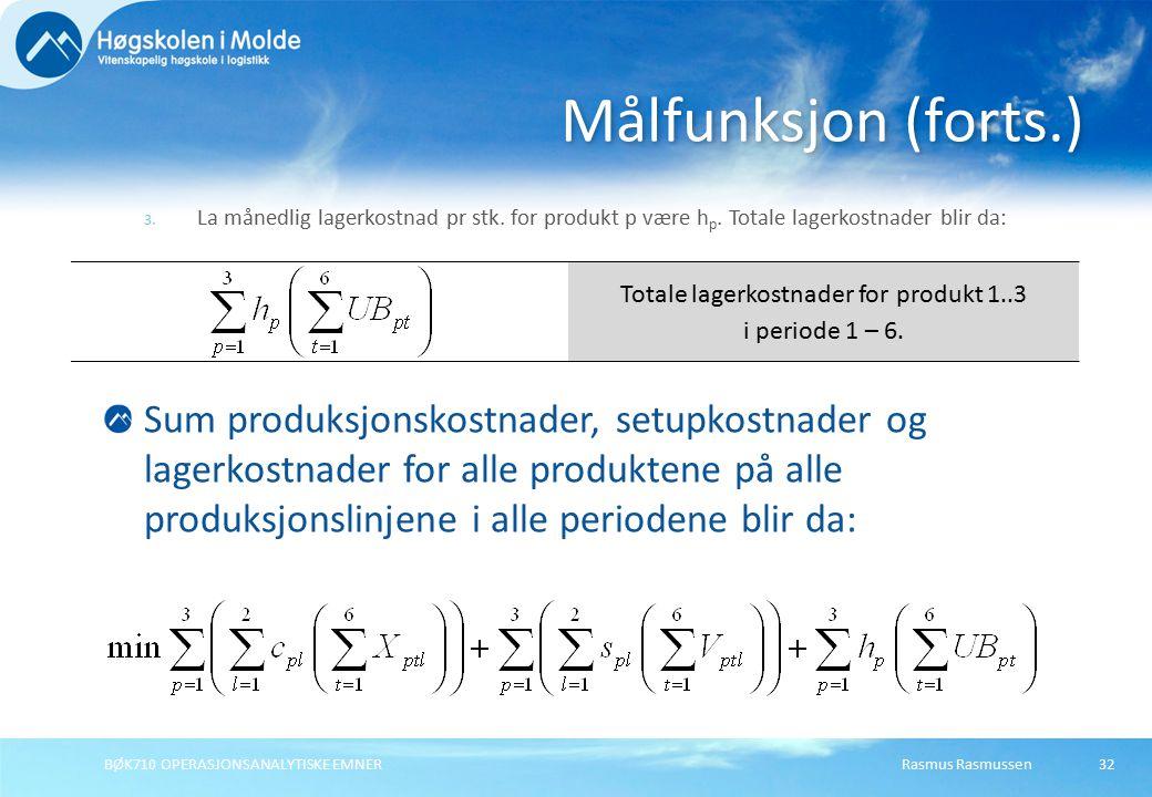Rasmus RasmussenBØK710 OPERASJONSANALYTISKE EMNER32 3. La månedlig lagerkostnad pr stk. for produkt p være h p. Totale lagerkostnader blir da: Målfunk