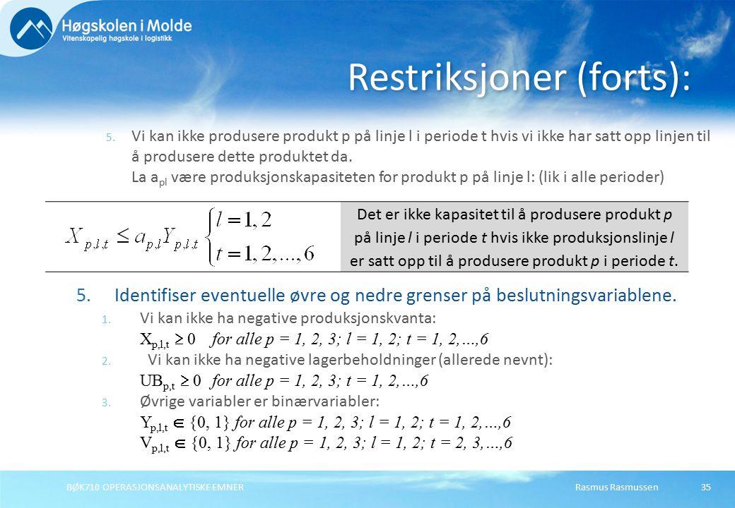 Rasmus RasmussenBØK710 OPERASJONSANALYTISKE EMNER35 5. Vi kan ikke produsere produkt p på linje l i periode t hvis vi ikke har satt opp linjen til å p