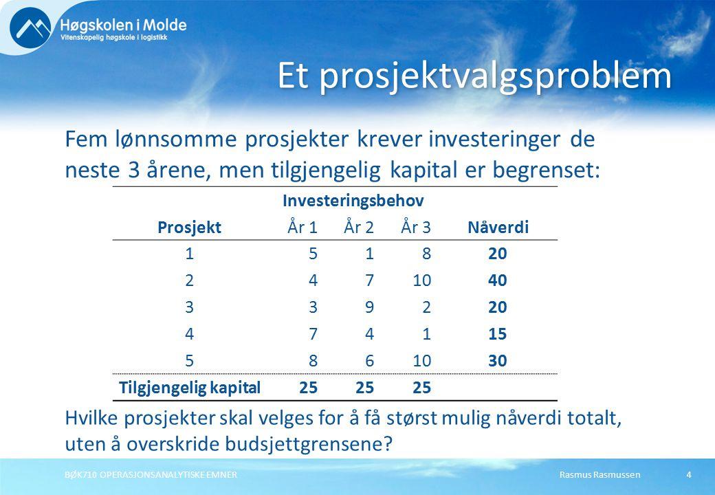Rasmus RasmussenBØK710 OPERASJONSANALYTISKE EMNER4 Fem lønnsomme prosjekter krever investeringer de neste 3 årene, men tilgjengelig kapital er begrenset: Et prosjektvalgsproblem Investeringsbehov ProsjektÅr 1År 2År 3Nåverdi 151820 2471040 339220 474115 5861030 Tilgjengelig kapital25 Hvilke prosjekter skal velges for å få størst mulig nåverdi totalt, uten å overskride budsjettgrensene