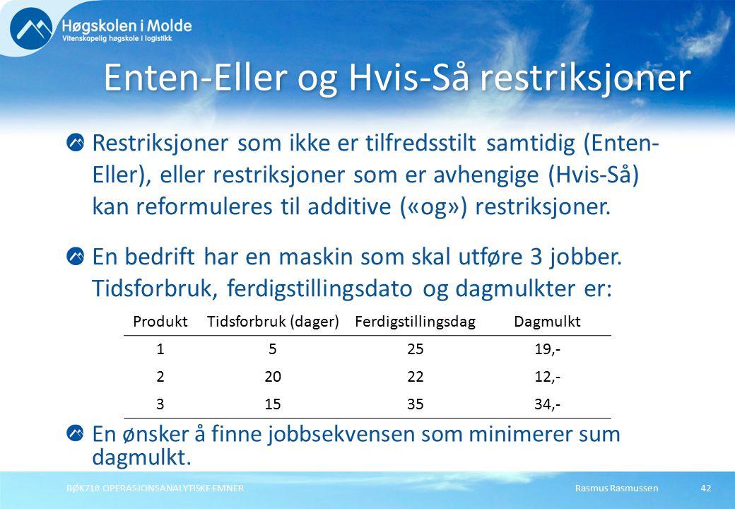 Rasmus RasmussenBØK710 OPERASJONSANALYTISKE EMNER42 Restriksjoner som ikke er tilfredsstilt samtidig (Enten- Eller), eller restriksjoner som er avhengige (Hvis-Så) kan reformuleres til additive («og») restriksjoner.