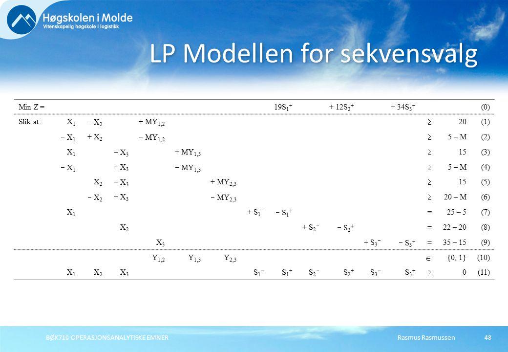Rasmus RasmussenBØK710 OPERASJONSANALYTISKE EMNER48 LP Modellen for sekvensvalg Min Z =19S 1 + + 12S 2 + + 34S 3 + (0) Slik at:X1X1  X 2 + MY 1,2  20(1)  X 1 + X 2  MY 1,2  5 – M(2) X1X1  X 3 + MY 1,3  15(3)  X1  X1 + X 3  MY 1,3  5 – M(4) X2X2  X 3 + MY 2,3  15(5)  X2 X2 + X 3  MY 2,3  20 – M(6) X1X1 + S 1   S 1 + =25 – 5(7) X2X2 + S 2   S 2 + =22 – 20(8) X3X3 + S 3   S 3 + =35 – 15(9) Y 1,2 Y 1,3 Y 2,3  {0, 1}(10) X1X1 X 2 X 3 S 1  S 1 + S 2  S 2 + S 3  S 3 +  0(11)