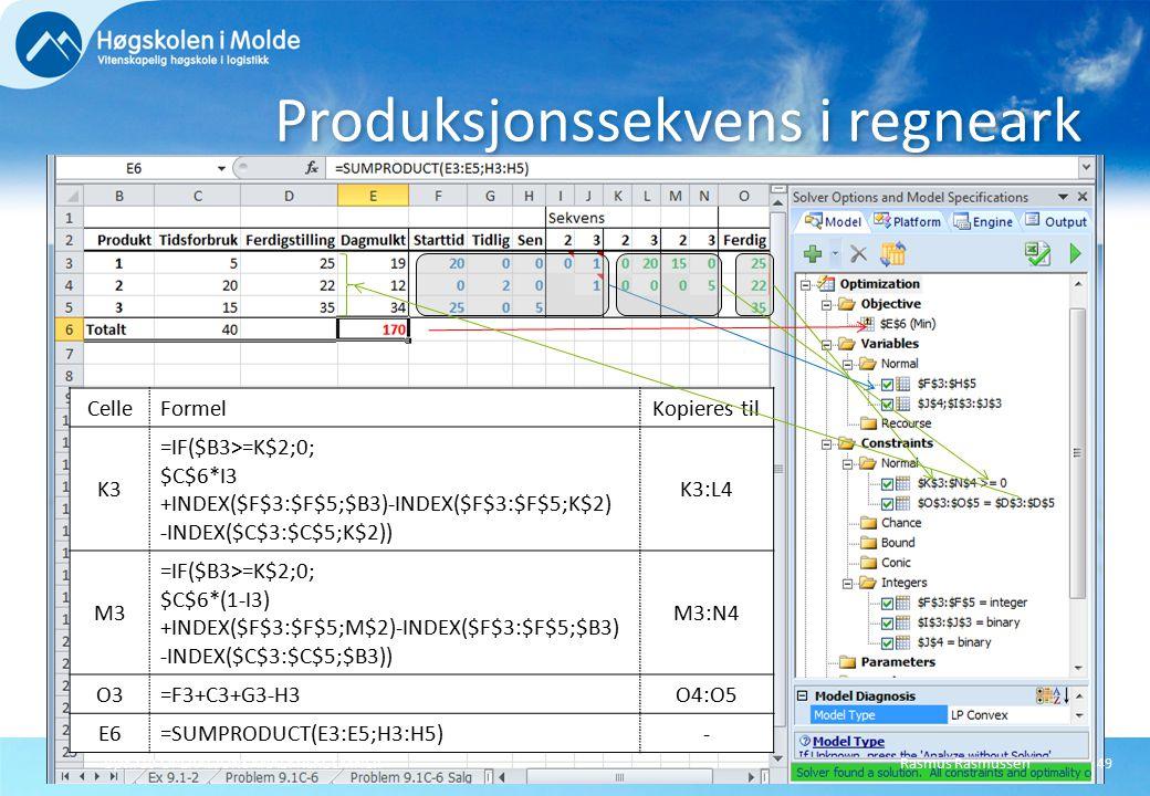 Rasmus RasmussenBØK710 OPERASJONSANALYTISKE EMNER49 Produksjonssekvens i regneark CelleFormelKopieres til K3 =IF($B3>=K$2;0; $C$6*I3 +INDEX($F$3:$F$5;$B3)-INDEX($F$3:$F$5;K$2) -INDEX($C$3:$C$5;K$2)) K3:L4 M3 =IF($B3>=K$2;0; $C$6*(1-I3) +INDEX($F$3:$F$5;M$2)-INDEX($F$3:$F$5;$B3) -INDEX($C$3:$C$5;$B3)) M3:N4 O3=F3+C3+G3-H3O4:O5 E6=SUMPRODUCT(E3:E5;H3:H5)-