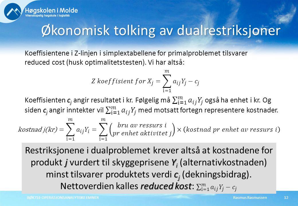 Rasmus RasmussenBØK710 OPERASJONSANALYTISKE EMNER12 Økonomisk tolking av dualrestriksjoner Koeffisientene i Z-linjen i simplextabellene for primalproblemet tilsvarer reduced cost (husk optimalitetstesten).