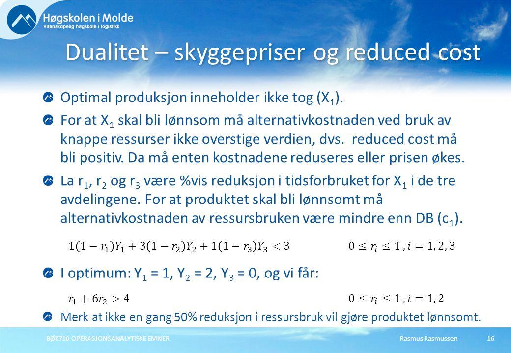 Rasmus RasmussenBØK710 OPERASJONSANALYTISKE EMNER16 Optimal produksjon inneholder ikke tog (X 1 ).