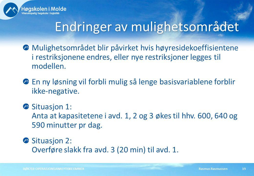 Rasmus RasmussenBØK710 OPERASJONSANALYTISKE EMNER19 Mulighetsområdet blir påvirket hvis høyresidekoeffisientene i restriksjonene endres, eller nye restriksjoner legges til modellen.