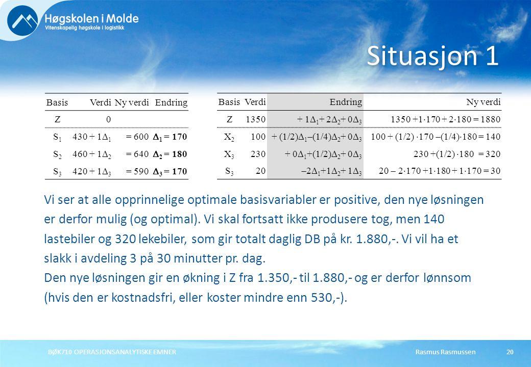 Rasmus RasmussenBØK710 OPERASJONSANALYTISKE EMNER20 Situasjon 1 BasisVerdiNy verdiEndring Z0 S1S1 430 + 1  1 = 600  1 = 170 S2S2 460 + 1  2 = 640  2 = 180 S3S3 420 + 1  3 = 590  3 = 170 Vi ser at alle opprinnelige optimale basisvariabler er positive, den nye løsningen er derfor mulig (og optimal).