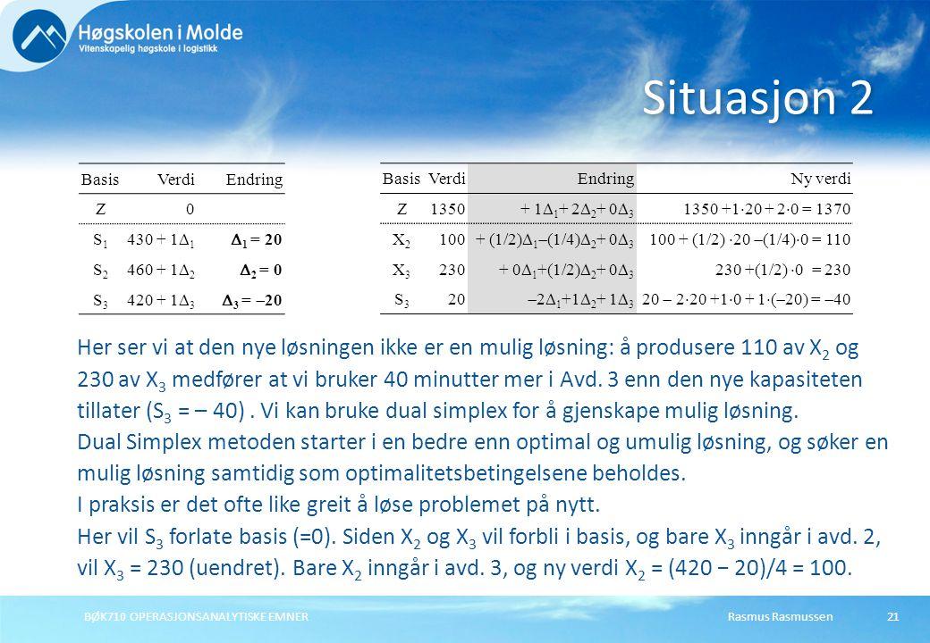 Rasmus RasmussenBØK710 OPERASJONSANALYTISKE EMNER21 Situasjon 2 BasisVerdiEndring Z0 S1S1 430 + 1  1  1 = 20 S2S2 460 + 1  2  2 = 0 S3S3 420 + 1  3  3 =  20 Her ser vi at den nye løsningen ikke er en mulig løsning: å produsere 110 av X 2 og 230 av X 3 medfører at vi bruker 40 minutter mer i Avd.