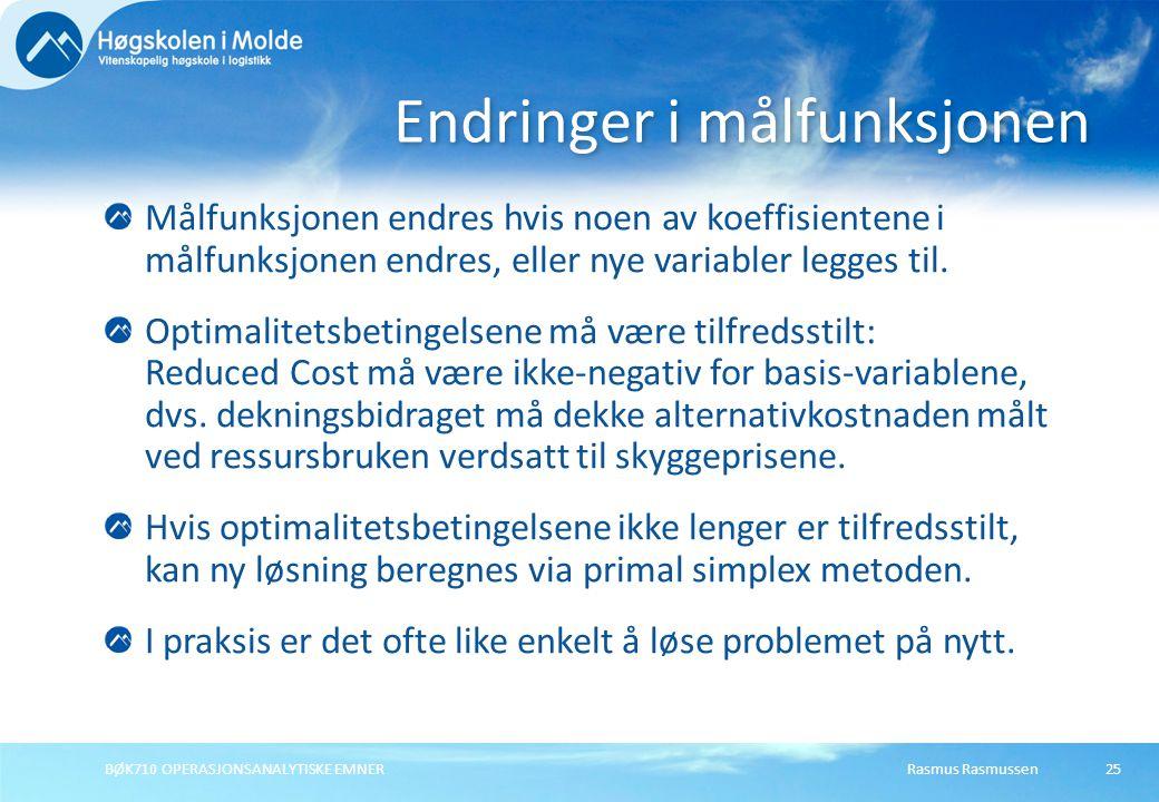 Rasmus RasmussenBØK710 OPERASJONSANALYTISKE EMNER25 Målfunksjonen endres hvis noen av koeffisientene i målfunksjonen endres, eller nye variabler legges til.