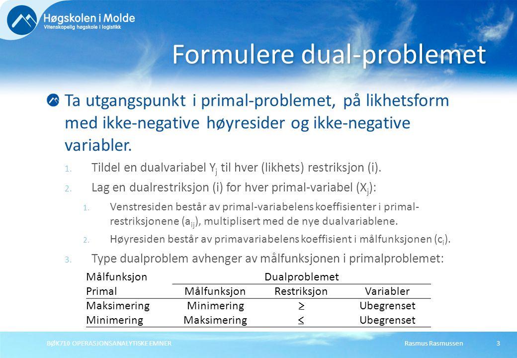 Rasmus RasmussenBØK710 OPERASJONSANALYTISKE EMNER24 Eksempel Ny restriksjon Situasjon 1 Max Z =3X 1 + 2X 2 + 5X 3 (DB kr) Slik at:1X 1 + 2X 2 + 1X 3  430(Avd.
