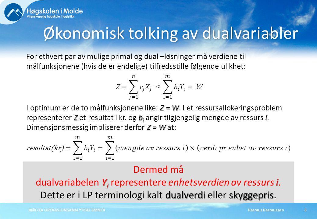 Rasmus RasmussenBØK710 OPERASJONSANALYTISKE EMNER9 Reddy Mikks malingsproduksjon Primal Max Z =5000X 1 + 4000X 2 (DB Kr) Slik at:6X 1 + 4X 2  24(Matr.