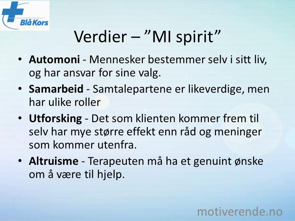 """Verdier – """"MI spirit"""" Automoni - Mennesker bestemmer selv i sitt liv, og har ansvar for sine valg. Samarbeid - Samtalepartene er likeverdige, men har"""