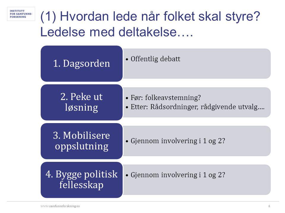 www.samfunnsforskning.no (2) Politisk lederskap i norske kommuner ·Utfordringer knyttet til hvem ·Kollektivt lederskap høyere i kurs enn individuelt lederskap ·Ordføreren - svak formell rolle og relativt liten innflytelse sammenliknet med ordførere i resten av Europa ·A-lag og B-lag ·Utfordringer knyttet til hvordan ·Strategisk lederskapsrolle stort gjennomslag ·Savner innsikt i administrative prosesser ·Utfordrer ombudsrollen ·Utfordringer knyttet til maktdeling og medstyring ·Samstyring og partnerskap har fått godt fotfeste ·Politiske lederskapet gjerne en fasilitatorpreget rolle.