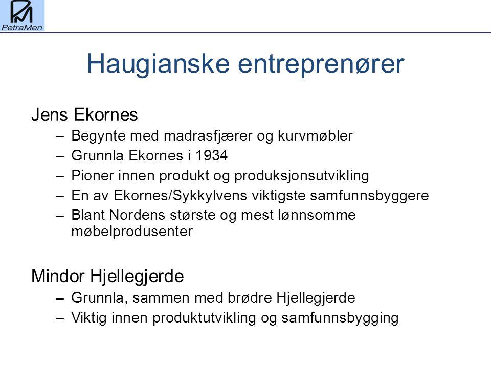 Haugianske entreprenører Jens Ekornes –Begynte med madrasfjærer og kurvmøbler –Grunnla Ekornes i 1934 –Pioner innen produkt og produksjonsutvikling –E