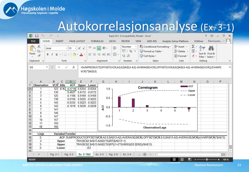 Rasmus RasmussenBØK710 OPERASJONSANALYTISKE EMNER 13 Autokorrelasjonsanalyse (Ex. 3-1)