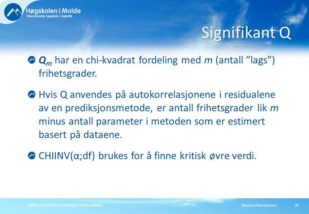 Rasmus RasmussenBØK710 OPERASJONSANALYTISKE EMNER20 Q m har en chi-kvadrat fordeling med m (antall lags ) frihetsgrader.