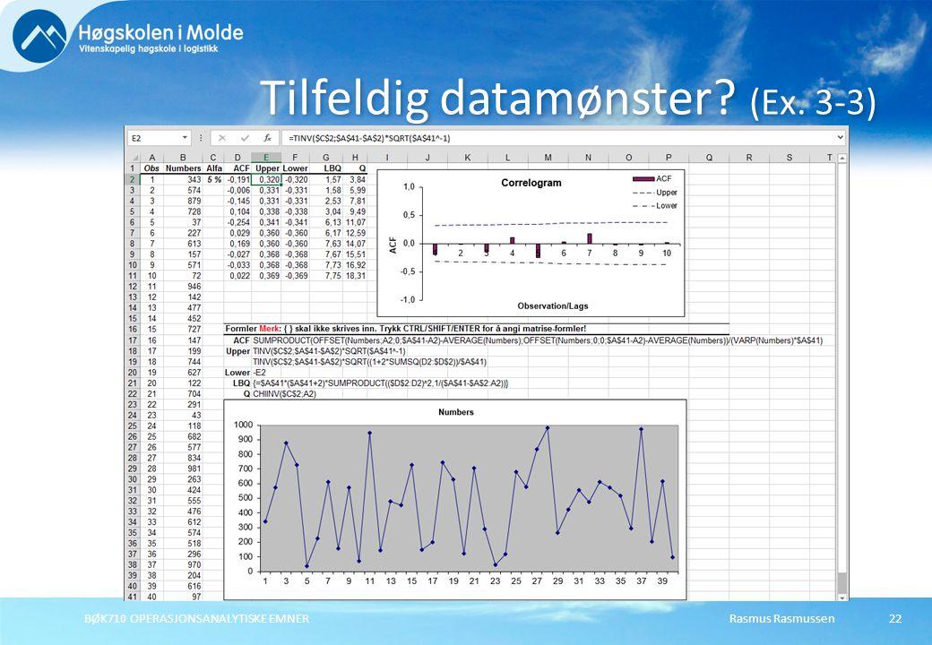 Rasmus RasmussenBØK710 OPERASJONSANALYTISKE EMNER22 Tilfeldig datamønster? (Ex. 3-3)