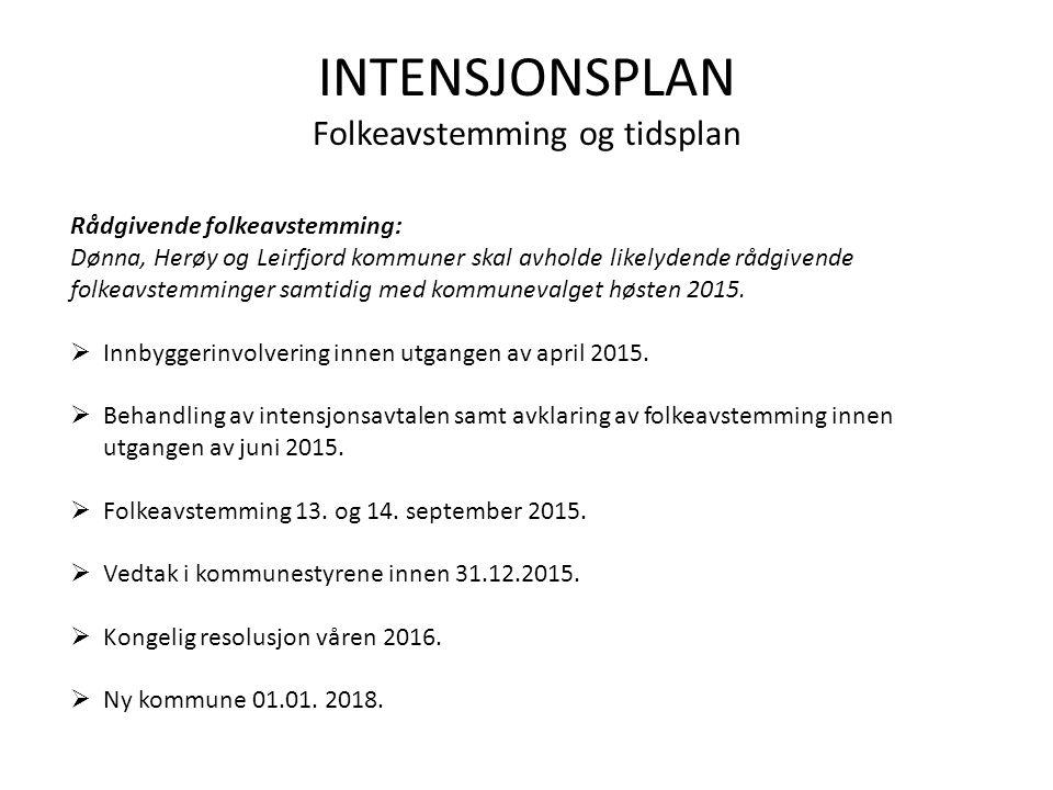 INTENSJONSPLAN Folkeavstemming og tidsplan Rådgivende folkeavstemming: Dønna, Herøy og Leirfjord kommuner skal avholde likelydende rådgivende folkeavstemminger samtidig med kommunevalget høsten 2015.