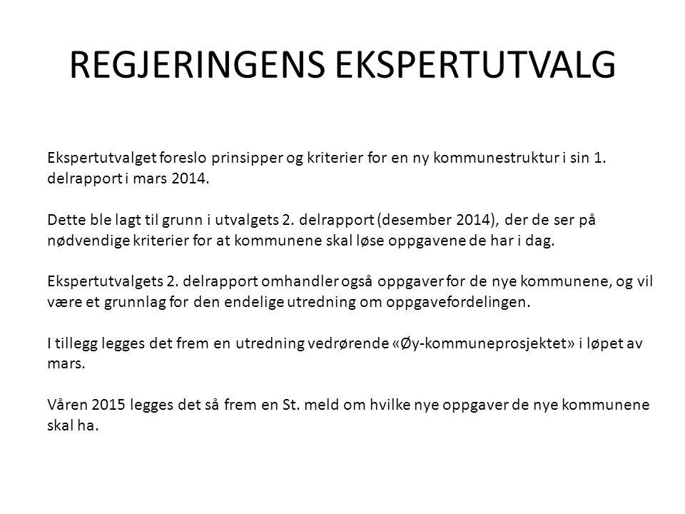 REGJERINGENS EKSPERTUTVALG Ekspertutvalget foreslo prinsipper og kriterier for en ny kommunestruktur i sin 1.