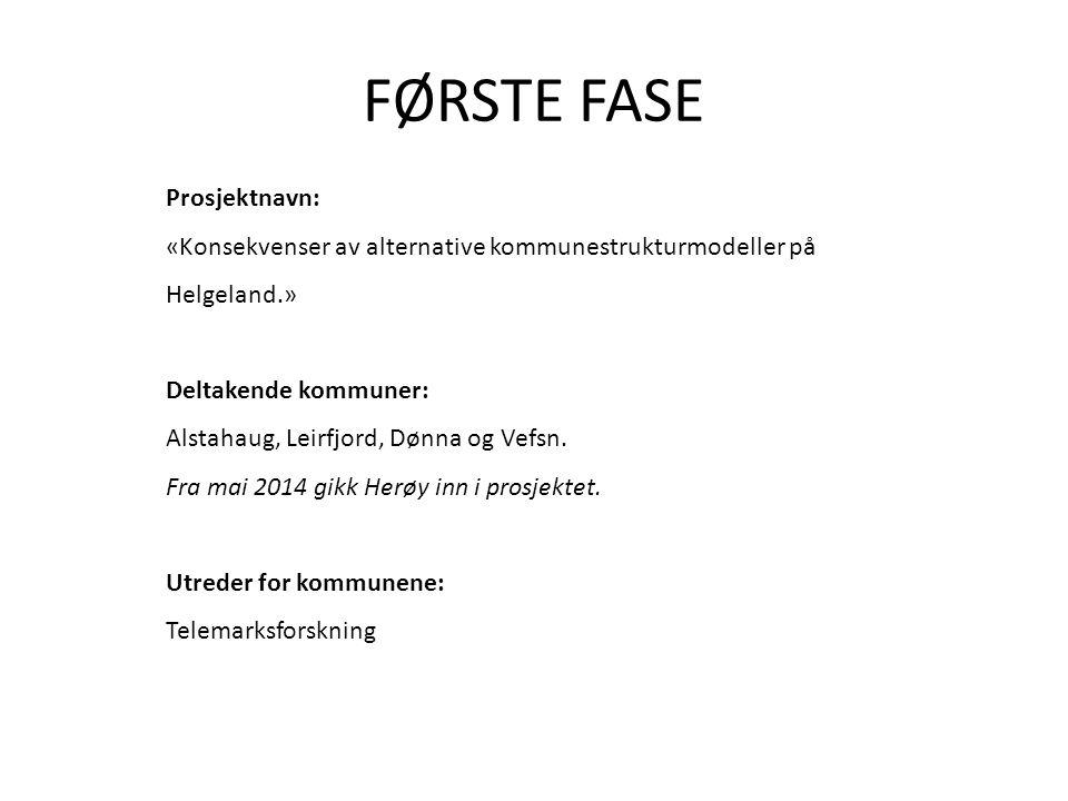 FØRSTE FASE Prosjektnavn: «Konsekvenser av alternative kommunestrukturmodeller på Helgeland.» Deltakende kommuner: Alstahaug, Leirfjord, Dønna og Vefsn.