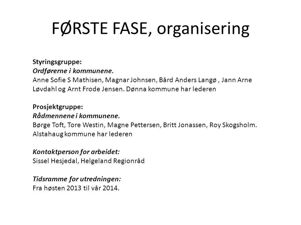 FØRSTE FASE, organisering Styringsgruppe: Ordførerne i kommunene.