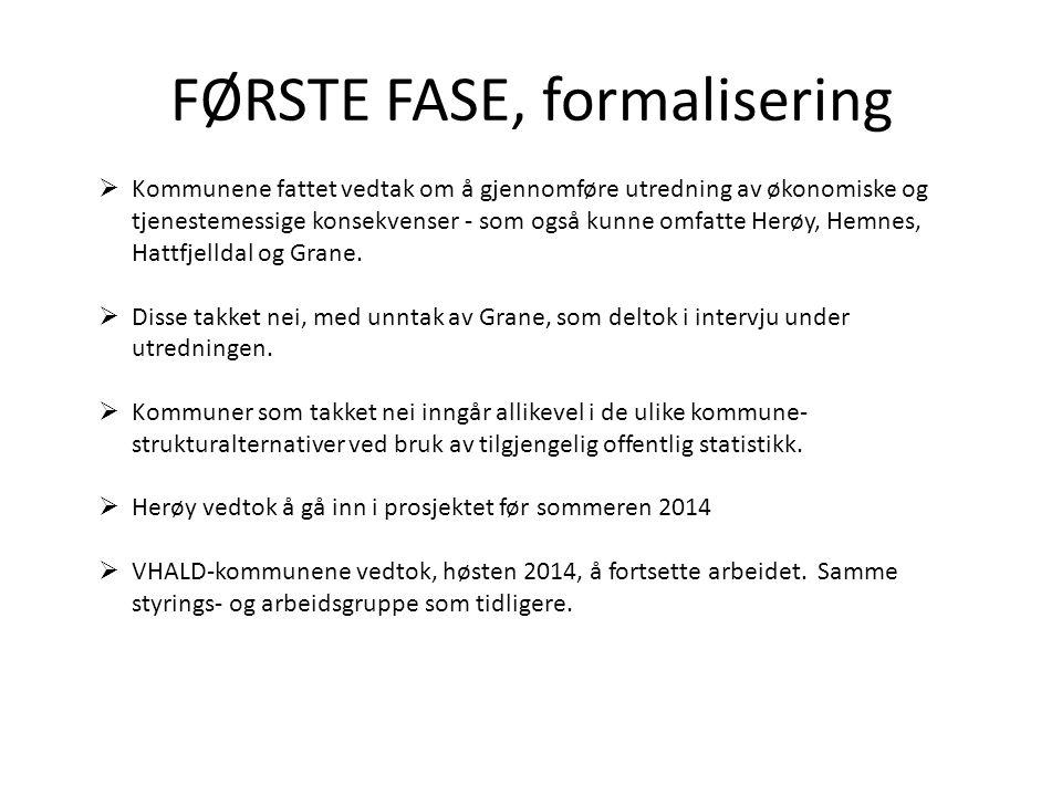 FØRSTE FASE, formalisering  Kommunene fattet vedtak om å gjennomføre utredning av økonomiske og tjenestemessige konsekvenser - som også kunne omfatte Herøy, Hemnes, Hattfjelldal og Grane.