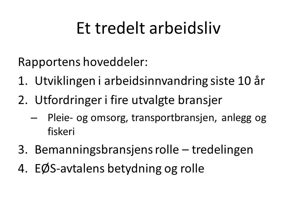 Et tredelt arbeidsliv Rapportens hoveddeler: 1.Utviklingen i arbeidsinnvandring siste 10 år 2.Utfordringer i fire utvalgte bransjer – Pleie- og omsorg, transportbransjen, anlegg og fiskeri 3.Bemanningsbransjens rolle – tredelingen 4.EØS-avtalens betydning og rolle