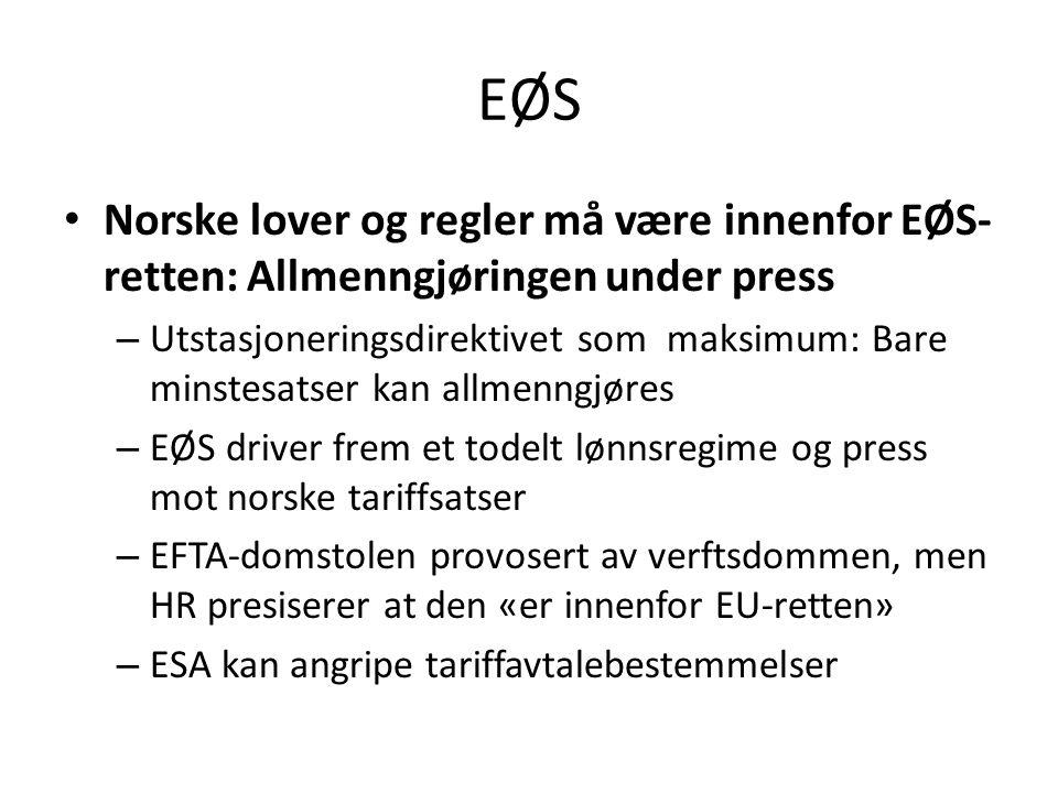 EØS Norske lover og regler må være innenfor EØS- retten: Allmenngjøringen under press – Utstasjoneringsdirektivet som maksimum: Bare minstesatser kan allmenngjøres – EØS driver frem et todelt lønnsregime og press mot norske tariffsatser – EFTA-domstolen provosert av verftsdommen, men HR presiserer at den «er innenfor EU-retten» – ESA kan angripe tariffavtalebestemmelser